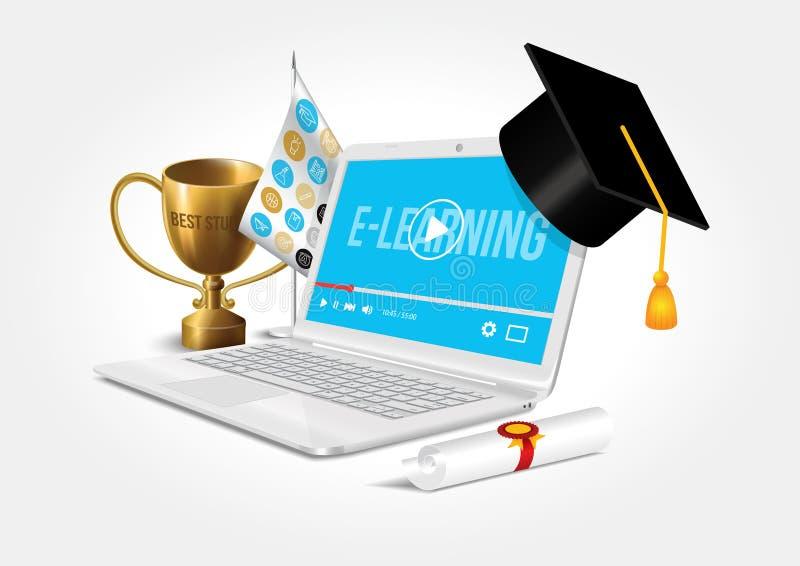 Wektorowy projekt przedstawia internet sieć jako wiedzy baza Pojęcie nauczanie online ilustracja wektor