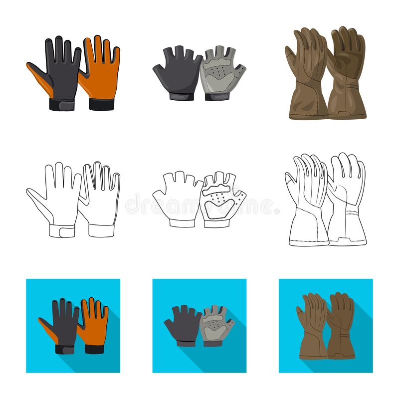 Wektorowy projekt rękawiczka i zima symbol Set rękawiczki i wyposażenia wektorowa ikona dla zapasu royalty ilustracja