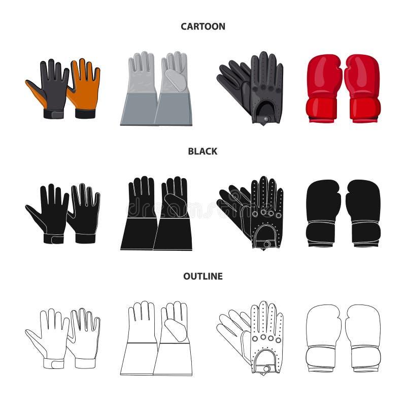 Wektorowy projekt rękawiczka i zima znak Set rękawiczki i wyposażenia akcyjna wektorowa ilustracja ilustracja wektor