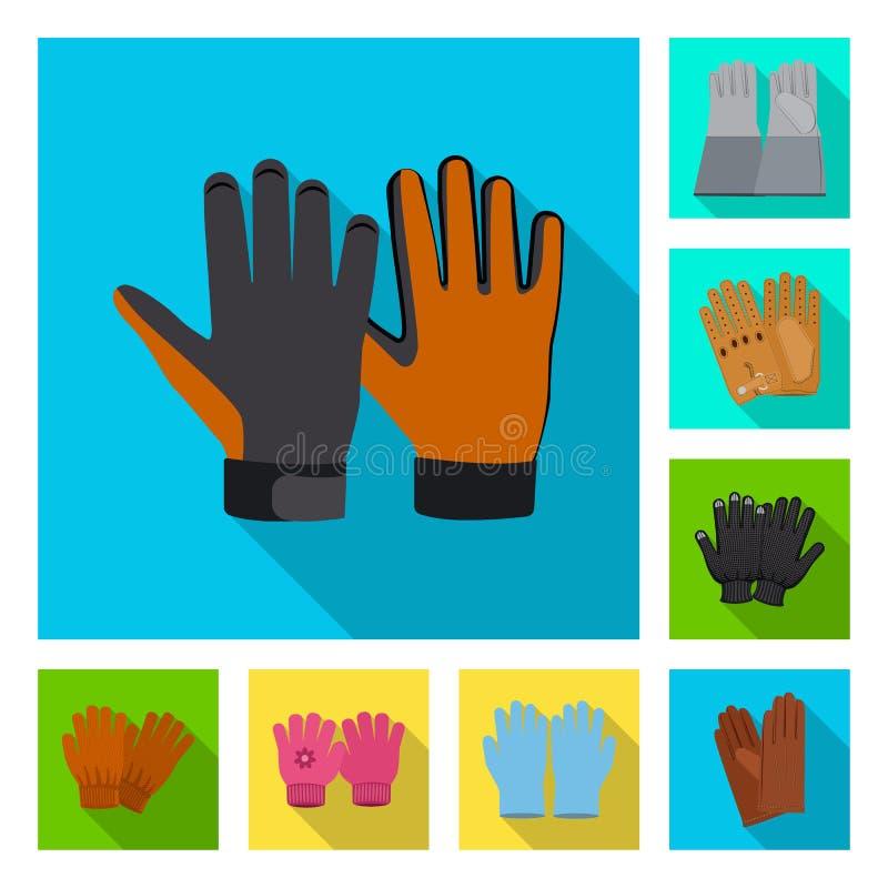 Wektorowy projekt rękawiczka i zimy ikona Set rękawiczki i wyposażenia akcyjny symbol dla sieci royalty ilustracja