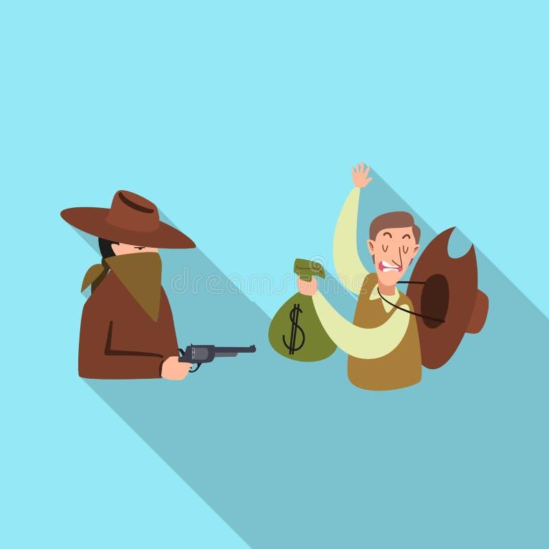 Wektorowy projekt rabunek i kowboja symbol Set rabunek i banka zapasu wektoru ilustracja royalty ilustracja