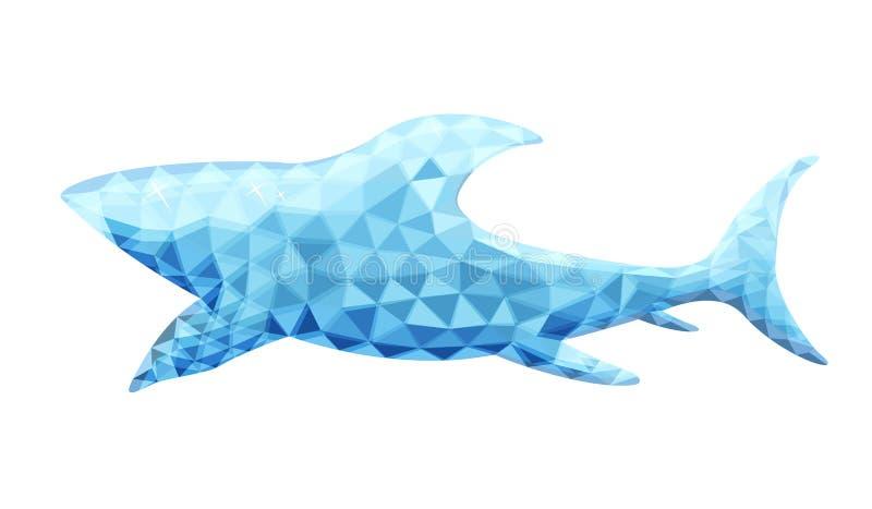 Wektorowy projekt rekin w niskim poli- stylu royalty ilustracja