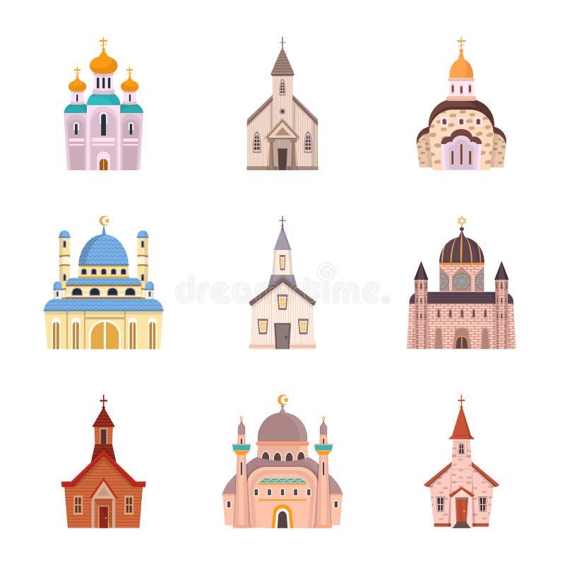 Wektorowy projekt religia i budynek ikona Set religii i wiary akcyjna wektorowa ilustracja royalty ilustracja