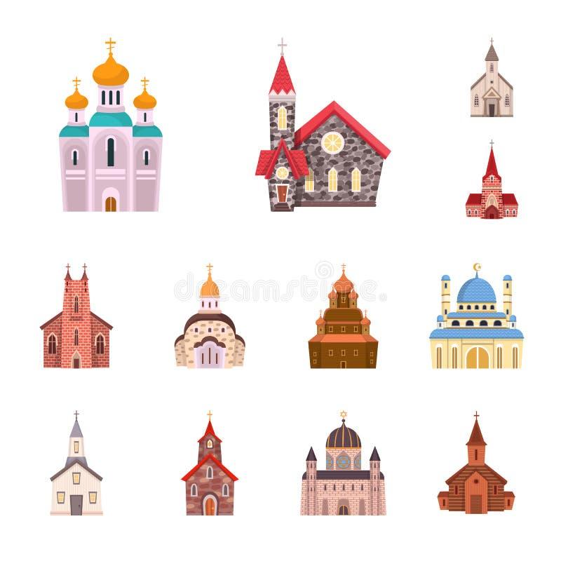 Wektorowy projekt religia i budynku symbol Kolekcja religii i wiary akcyjny symbol dla sieci ilustracja wektor