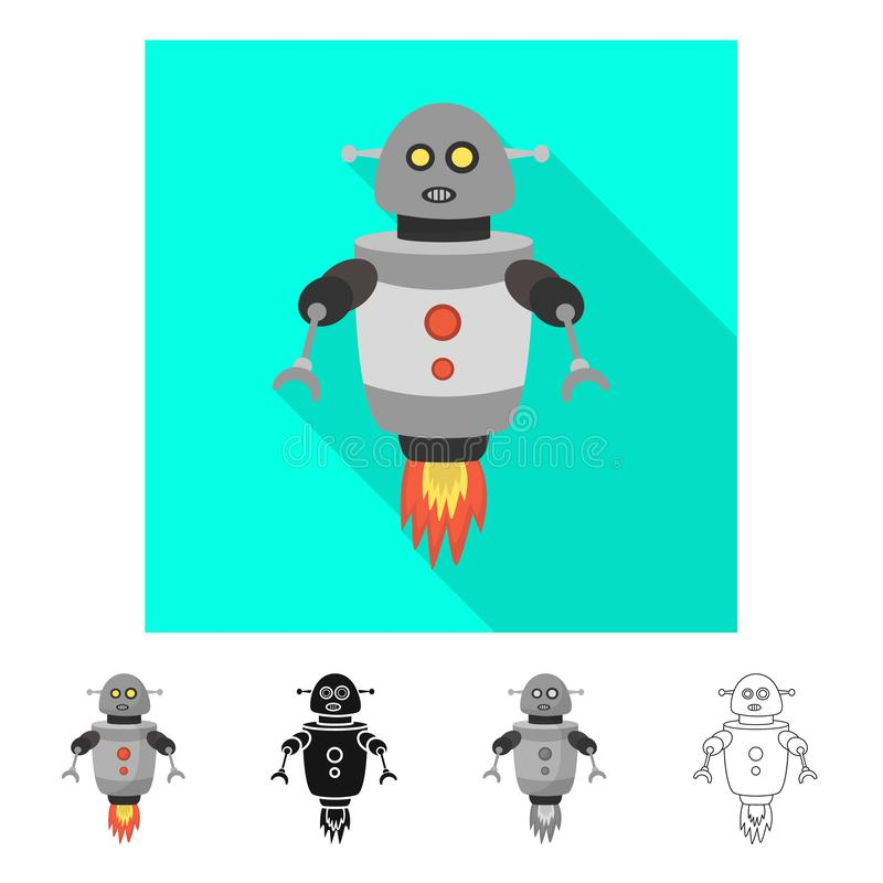 Wektorowy projekt robot i programa symbol Kolekcja robota i cyborga akcyjny symbol dla sieci royalty ilustracja