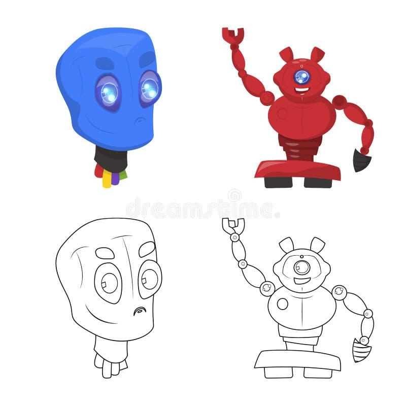Wektorowy projekt robota i fabryki symbol Set robota i przestrzeni akcyjna wektorowa ilustracja ilustracji