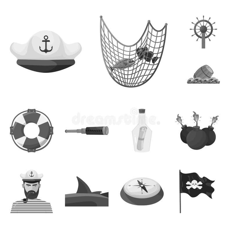 Wektorowy projekt rocznik i nautyczny logo Kolekcja rocznik i atrybuty zaopatrujemy wektorową ilustrację ilustracji