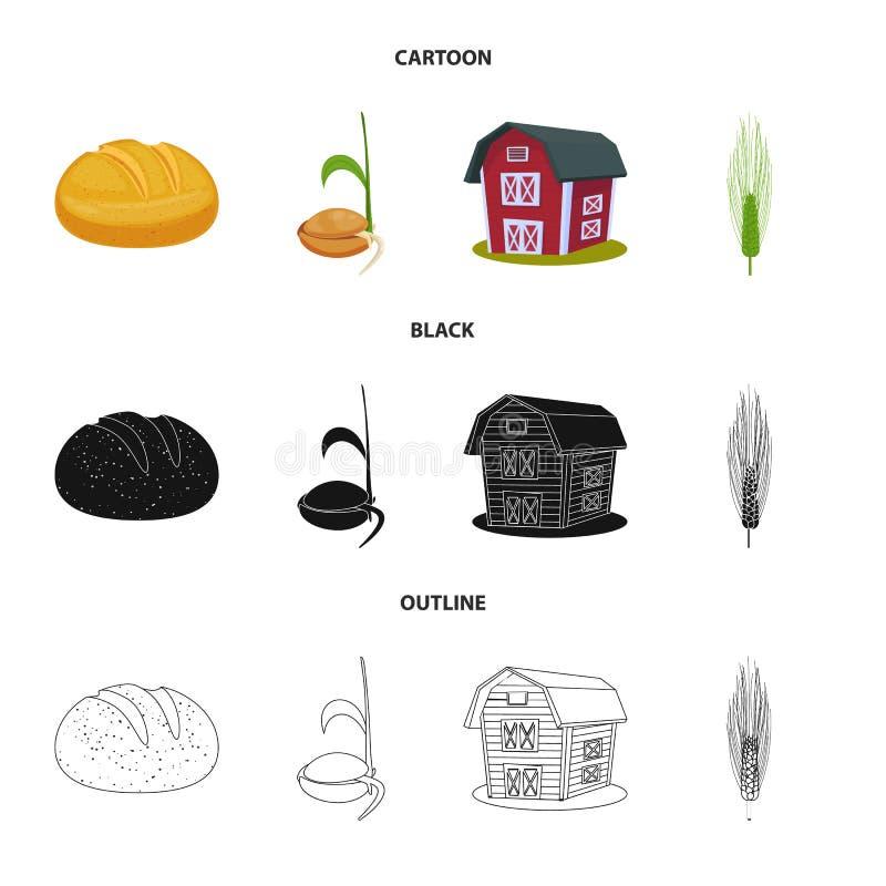 Wektorowy projekt rolnictwo i uprawia? ziemi? logo Set rolnictwo i ro?liny wektorowa ikona dla zapasu ilustracja wektor