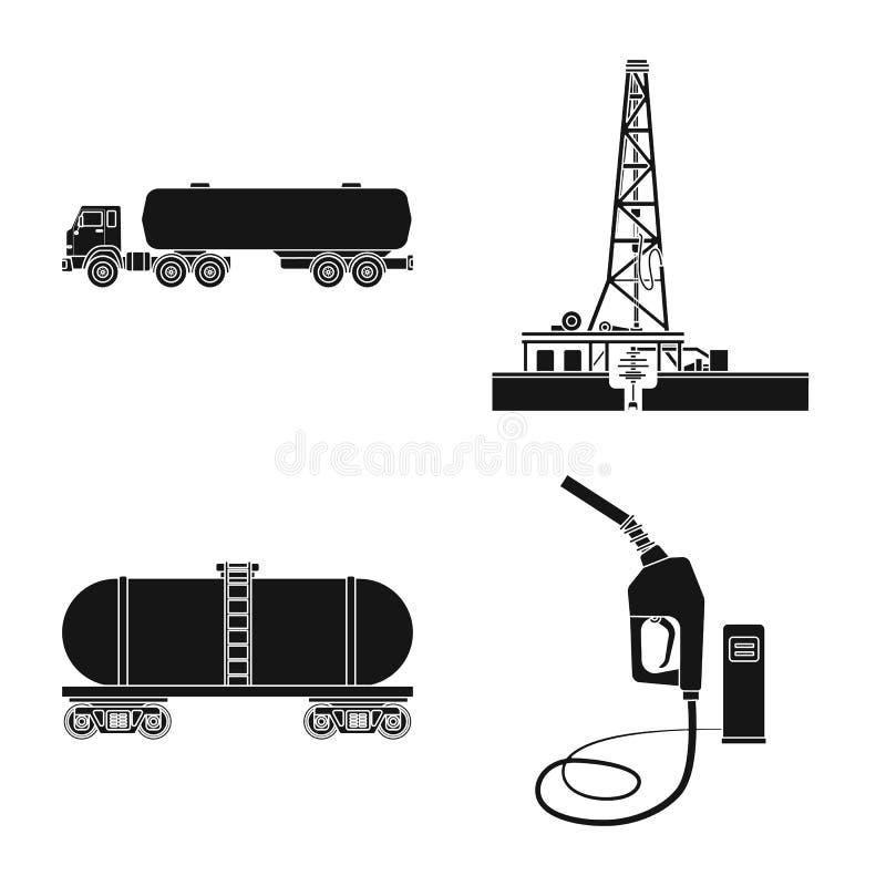 Wektorowy projekt ropa i gaz logo Set oleju i benzyny akcyjna wektorowa ilustracja royalty ilustracja