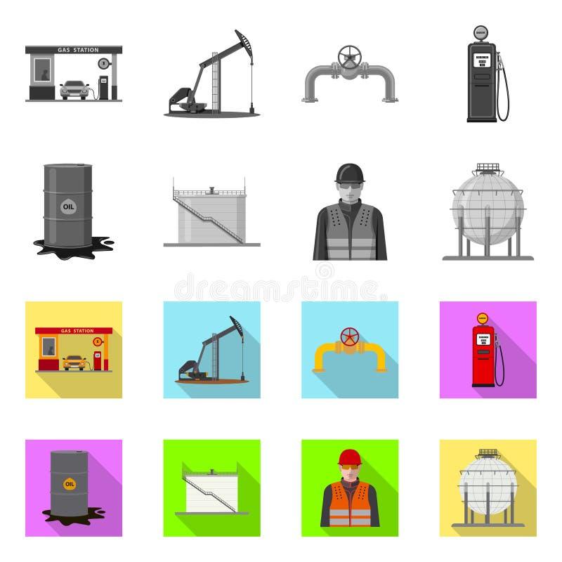 Wektorowy projekt ropa i gaz znak Set oleju i benzyny akcyjny symbol dla sieci ilustracji