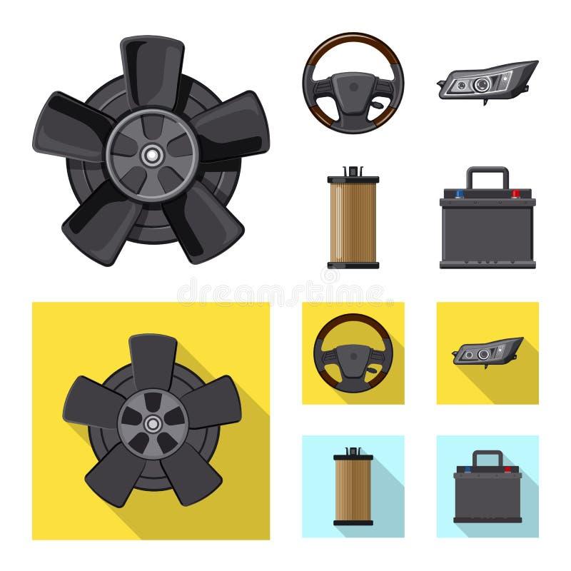 Wektorowy projekt samochodu i części ikona Set samochodu i samochodu akcyjna wektorowa ilustracja royalty ilustracja