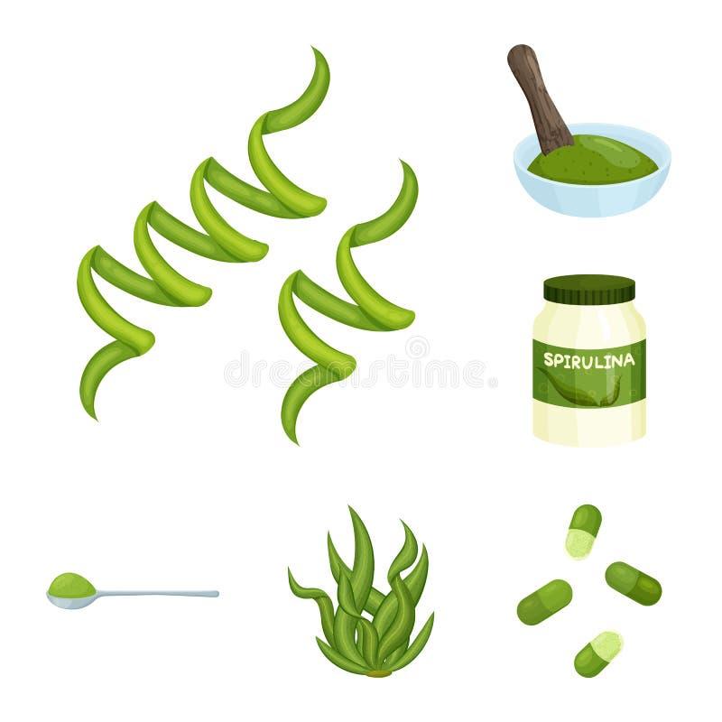Wektorowy projekt spirulina i gałęzatki znak Set spirulina i weganinu akcyjny symbol dla sieci ilustracja wektor