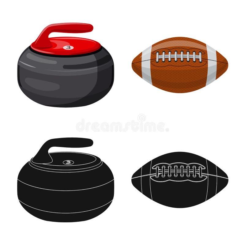 Wektorowy projekt sporta i piłki ikona Set sport i sportowy akcyjny symbol dla sieci royalty ilustracja