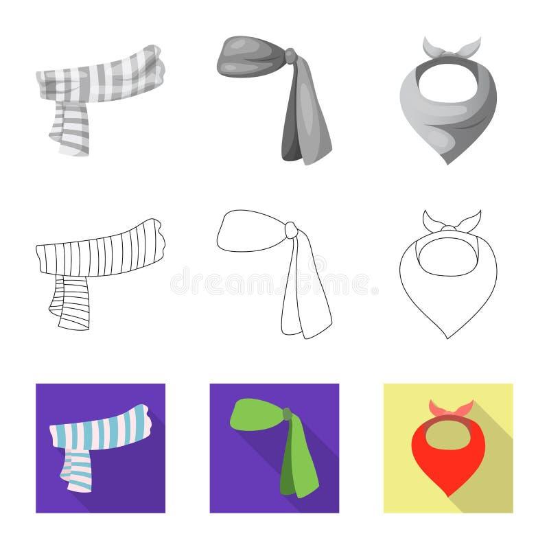 Wektorowy projekt szalika i chusty ikona Kolekcja szalika i akcesorium akcyjna wektorowa ilustracja royalty ilustracja