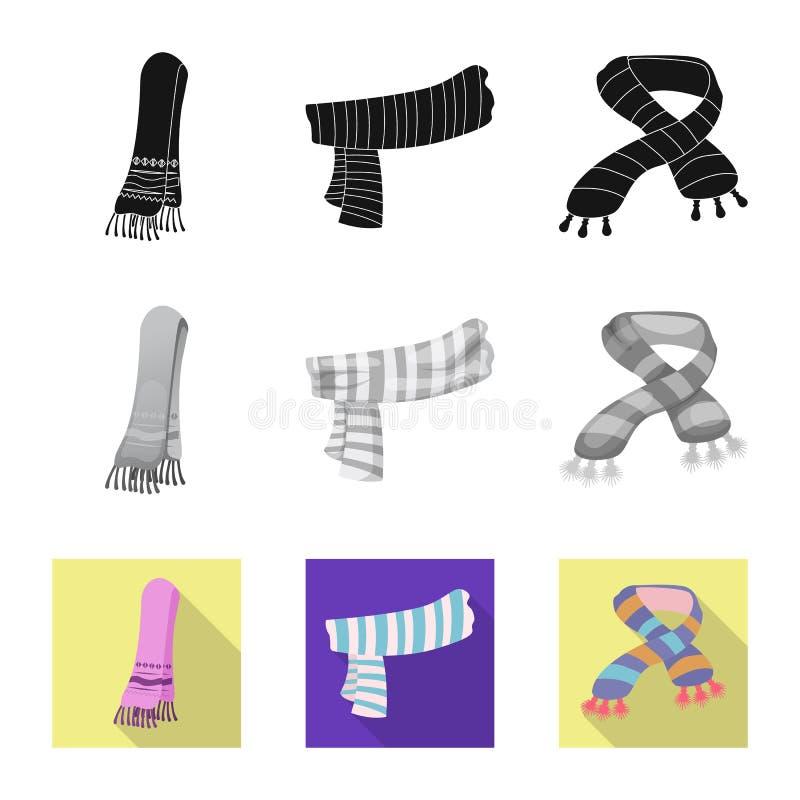 Wektorowy projekt szalika i chusty ikona Kolekcja szalika i akcesorium akcyjna wektorowa ilustracja ilustracja wektor