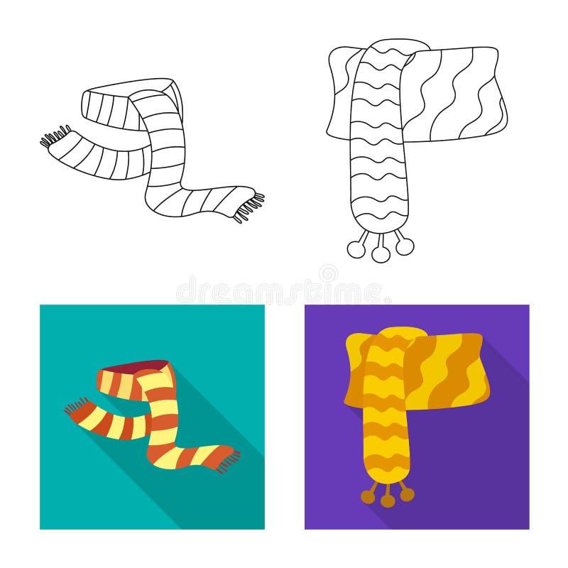 Wektorowy projekt szalika i chusty logo Kolekcja szalika i akcesorium akcyjna wektorowa ilustracja royalty ilustracja