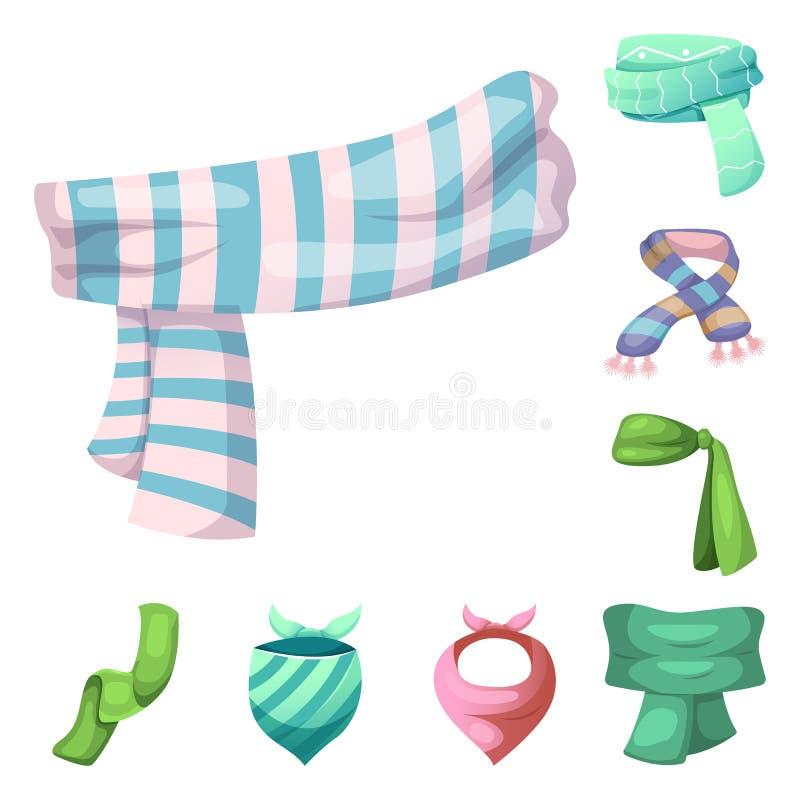 Wektorowy projekt szalika i chusty symbol Kolekcja szalika i akcesorium akcyjna wektorowa ilustracja ilustracji
