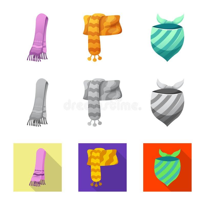 Wektorowy projekt szalika i chusty symbol Set szalika i akcesorium akcyjna wektorowa ilustracja royalty ilustracja