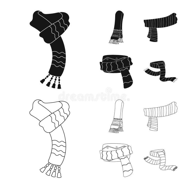 Wektorowy projekt szalika i chusty znak Kolekcja szalika i akcesorium akcyjna wektorowa ilustracja ilustracja wektor