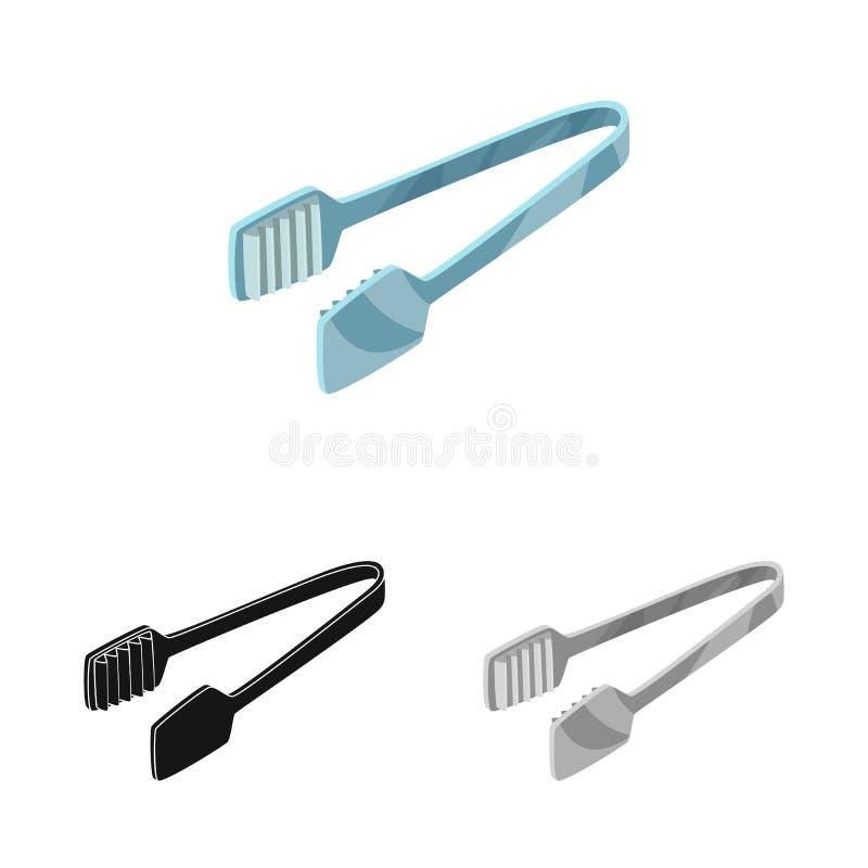 Wektorowy projekt tongs i dishware symbol Kolekcja tongs i cukierniany akcyjny symbol dla sieci royalty ilustracja