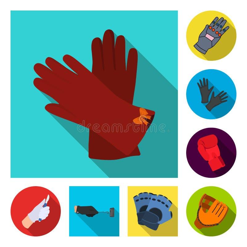 Wektorowy projekt trykotowa i pastuch ikona Set trykotowy i ręka akcyjny symbol dla sieci royalty ilustracja