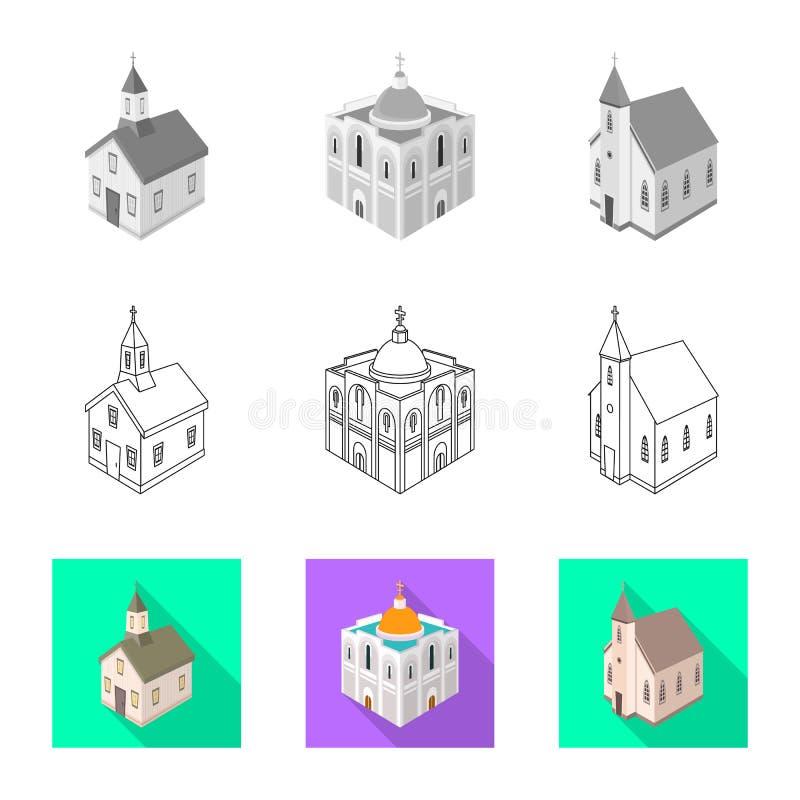 Wektorowy projekt ?wi?tynna i historyczna ikona Set ?wi?tynia i wiary akcyjna wektorowa ilustracja royalty ilustracja