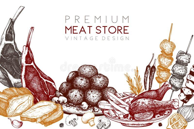 Wektorowy projekt z ręka rysującą karmową ilustracją Odgórnego widoku projekt różna mięsa talerza wieprzowina preparted typ Mięśn ilustracja wektor