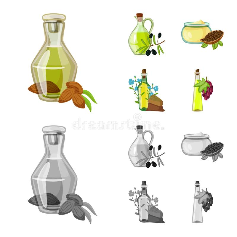Wektorowy projekt zdrowa i jarzynowa ikona Set zdrowy i rolnictwo akcyjny symbol dla sieci royalty ilustracja