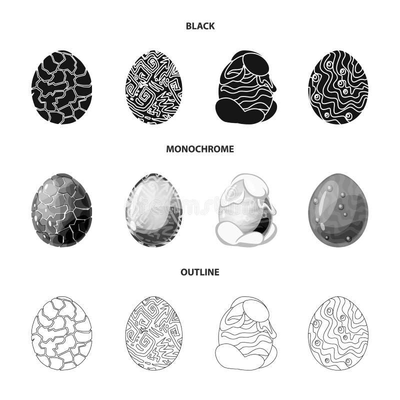 Wektorowy projekt zwierzęcy i prehistoryczny znak Set zwierzęca i śliczna akcyjna wektorowa ilustracja ilustracja wektor