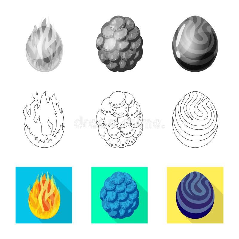 Wektorowy projekt zwierz?cy i prehistoryczny znak Kolekcja zwierz?ca i ?liczna wektorowa ikona dla zapasu ilustracji