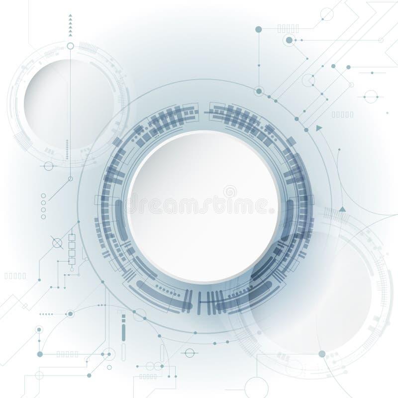 Wektorowy projekta 3d papieru okrąg z obwód deską Ilustracyjny Abstrakcjonistyczny nowożytny futurystyczny, konstruujący, nauka,  ilustracja wektor
