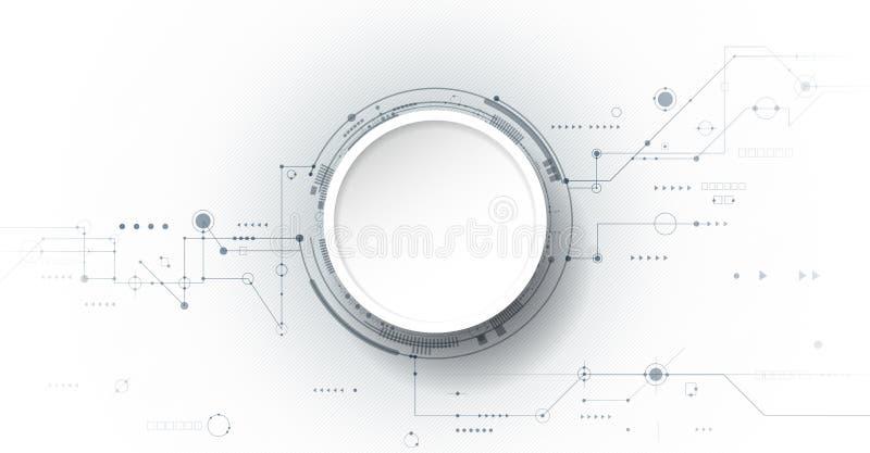 Wektorowy projekta 3d papieru okrąg z obwód deską Cześć technika cyfrowa łączy, komunikacja, nowoczesna technologia pojęcie ilustracji