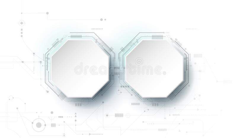 Wektorowy projekta 3d papieru okrąg z obwód deską Ilustracyjny Abstrakcjonistyczny nowożytny futurystyczny technologii tło royalty ilustracja