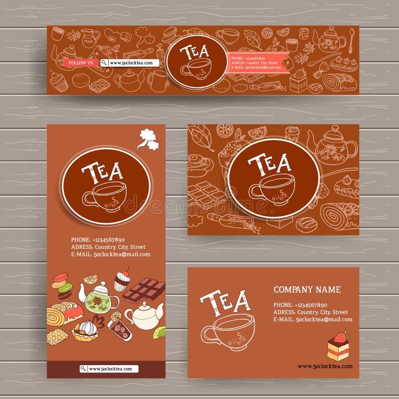 Wektorowy projekta szablon dla herbaty kawiarni lub sklepu Jest usytuowanym chodnikowa, wizytówkę, broszurkę i ulotki, ilustracja wektor