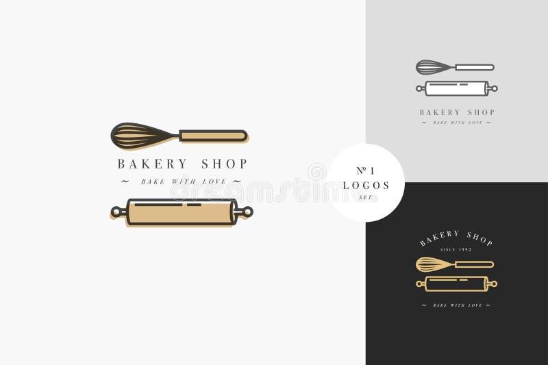 Wektorowy projekta szablon, emblemat i - kuchenna rolka i coronet dla piec sklep piekarnia ilustracja wektor