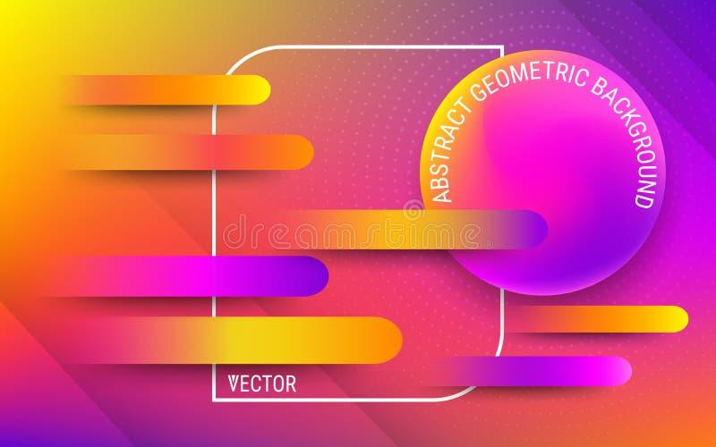 Wektorowy projekta szablon w modnym jaskrawym gradiencie barwi Abstrakcjonistyczni rzadkopłynni geometryczni kształty ilustracja wektor