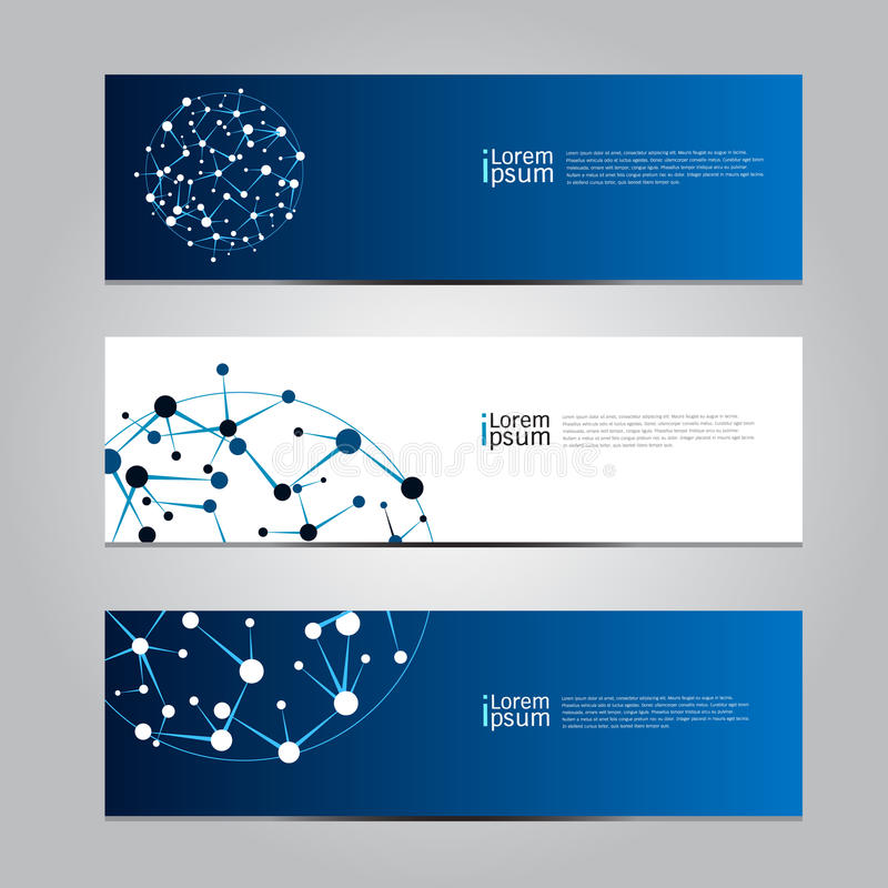 Wektorowy projekta sztandaru sieci technologii medyczny tło royalty ilustracja