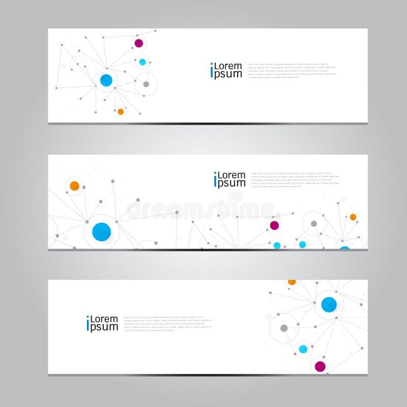 Wektorowy projekta sztandaru sieci technologii medyczny tło ilustracji