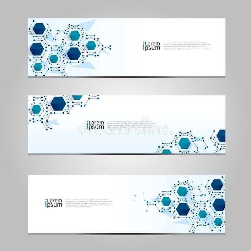 Wektorowy projekta sztandaru sieci technologii medyczny tło ilustracja wektor