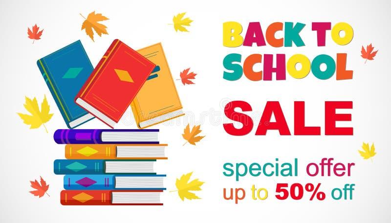 Wektorowy promocyjny plakat Z powrotem szkoły sprzedaż z książkami ilustracja wektor