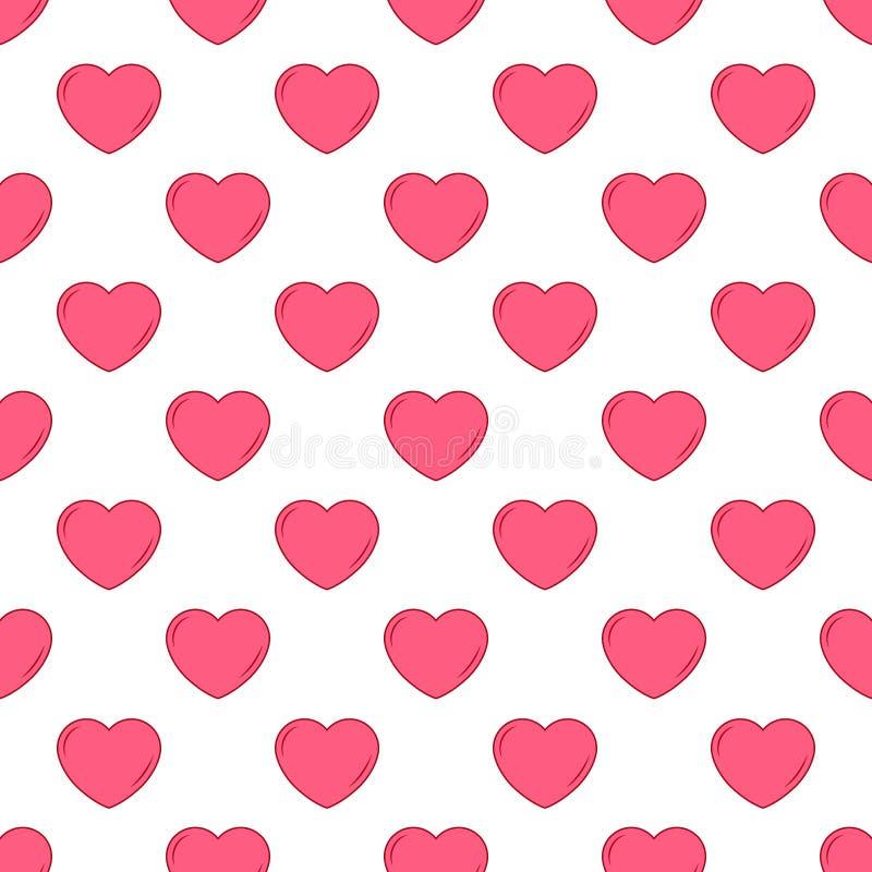 Wektorowy prosty bezszwowy śliczny projekt w valentines różni rozmiary i menchie dla projekta tło zaproszenia i karty, t ilustracja wektor