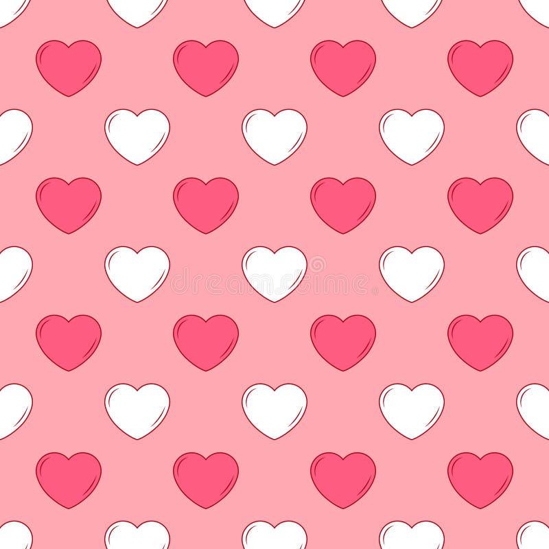 Wektorowy prosty bezszwowy śliczny projekt w valentines różni rozmiary i menchie dla projekta tło zaproszenia i karty, t royalty ilustracja