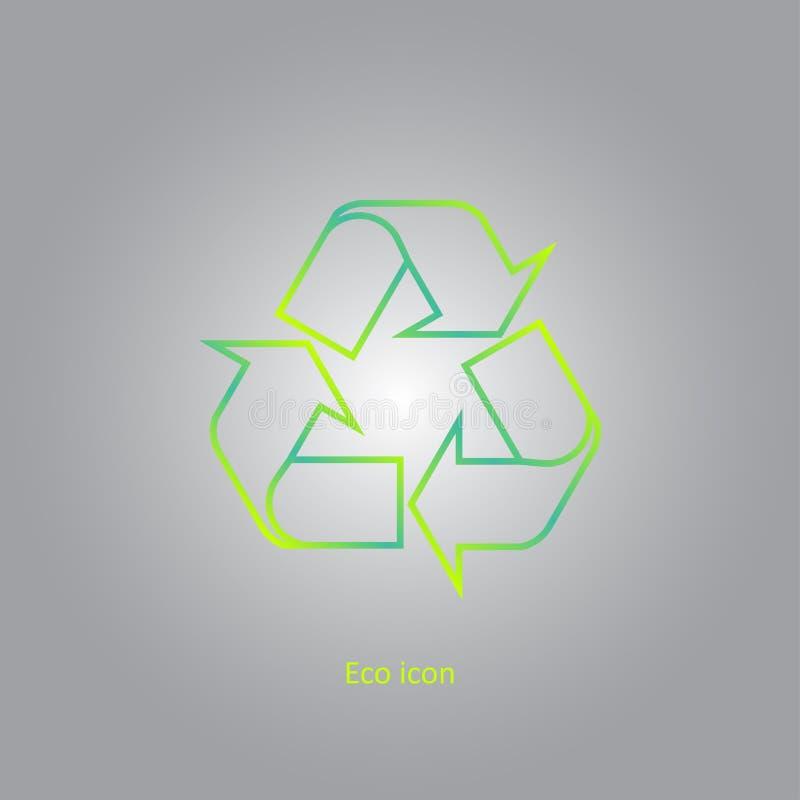 Wektorowy prosty eco odnosić sie kontur przetwarza ikonę Odosobniony przetwarza projekta element w modnym gradientu stylu Eco poj ilustracji