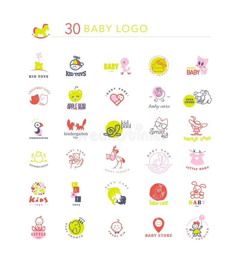 Wektorowy prosty płaski dzieciaka loga set ilustracji