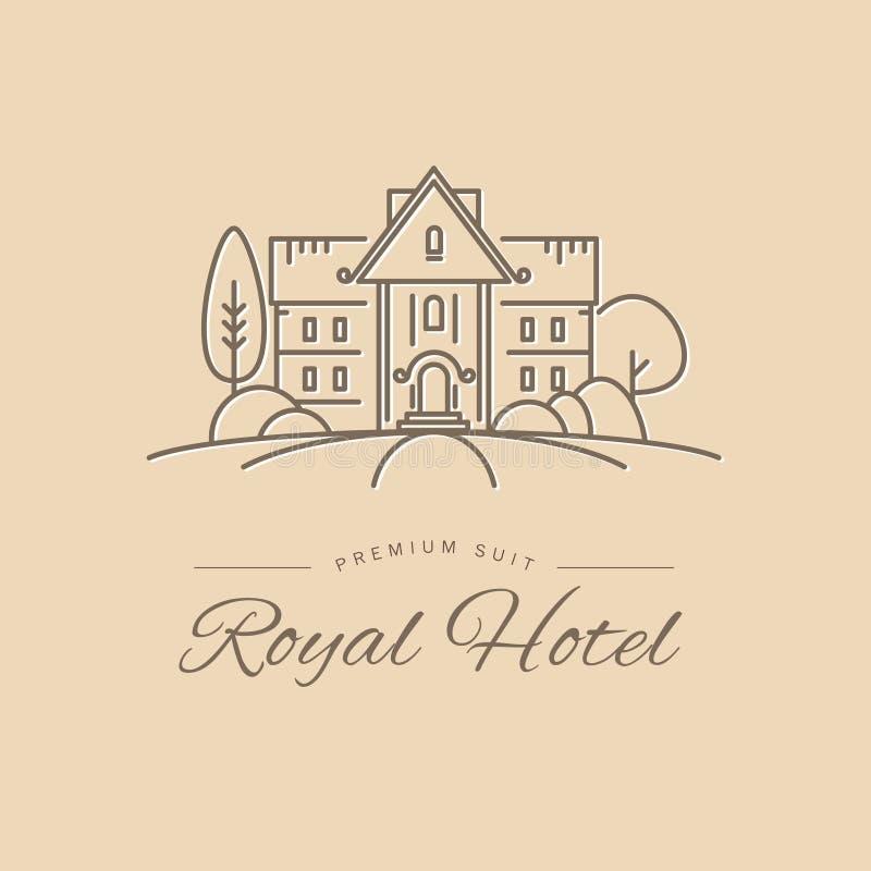 Wektorowy prosty płaski liniowy hotelowego łańcuchu logo, insygnia projekt na lekkim tle royalty ilustracja