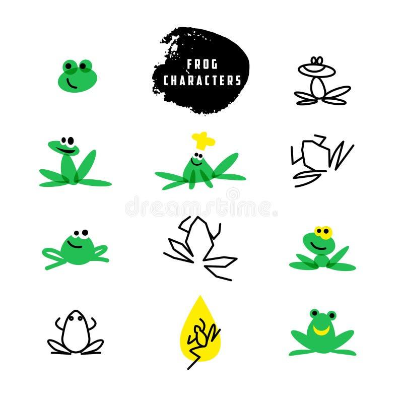 Wektorowy prosty płaski logo z żaba charakterem ilustracja wektor