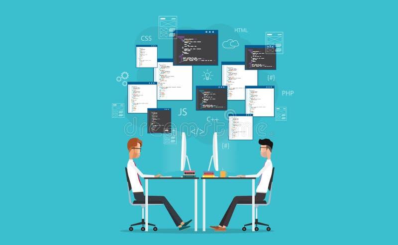 Wektorowy przedsiębiorca budowlany pracuje na miejscu pracy rozwija dla strony internetowej i zastosowania ilustracja wektor