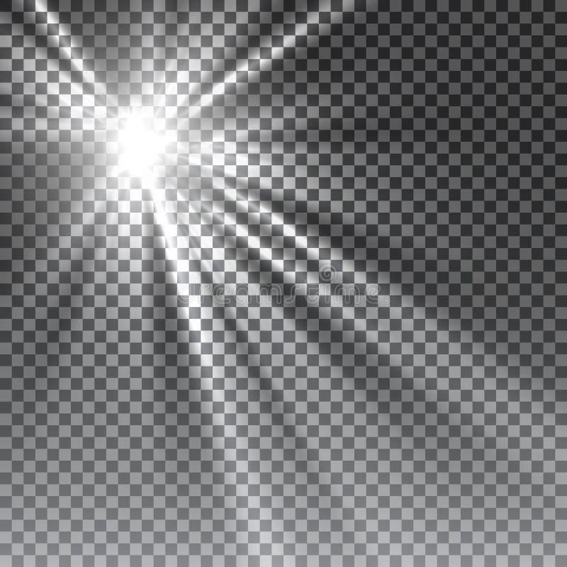 Wektorowy przejrzysty światło słoneczne dodatku specjalnego obiektyw zdjęcie royalty free