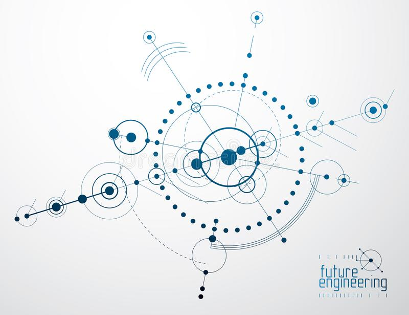Wektorowy przemysłowy i inżynieria tło, przyszłościowy techniczny plan Abstrakcjonistyczny projekt mechanizm ilustracji