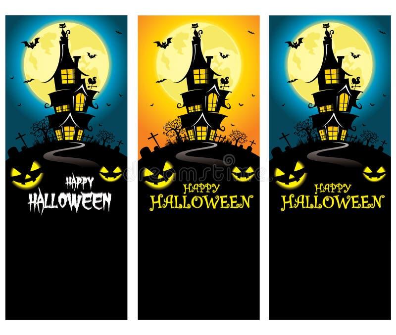Wektorowy Przerażający Halloweenowy Pionowo sztandaru szablon z dwór sylwetką przed księżyc w pełni ilustracji